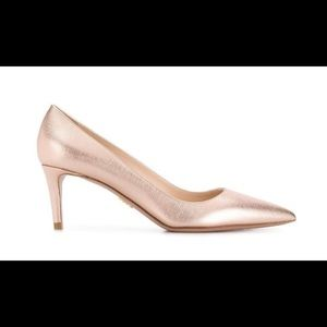 🔥Prada Saffiano 65 Rose-Gold Pointed Pumps